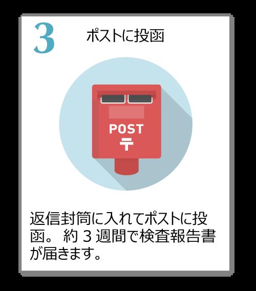 返信封筒に入れてポストに投函。約3週間で検査報告書が届きます。